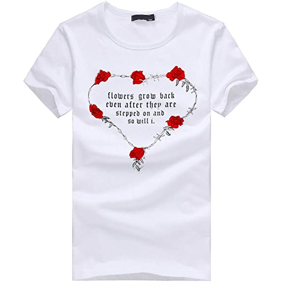 Peize Valentines Day Men&Women Rose Short Sleeve T Shirt, Simple Letter Printing Short-Sleeved Shirt at Amazon Womens Clothing store: