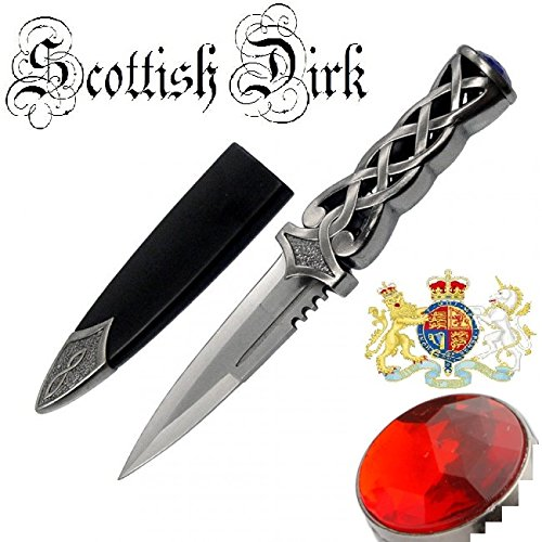 "9"" Thor's Hammer Twisted Steel Celtic Sgian Dubh Scottish Dirk WEDDING Athame Dagger With Red Ruby"