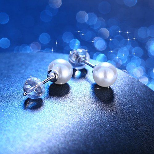 J.Ros/ée Pearl Stud Earrings Elegant Jewellery with Freshwater Pearl 925 Sterling Silver Fashion Style Earrings Come with Gift Box