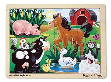 ebfb97b5d8a5d Image Unavailable. Image not available for. Color  Melissa   Doug On the  Farm Wooden Jigsaw Puzzle ...