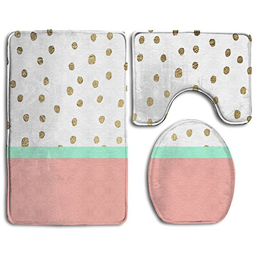 Gold Dots Cute Watermelon Family Flannel Non-Slip Bathroom Rug Mats Set 3 Piece Anti-Mites Dot Canvas Rug