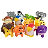 Boley Bucket of Zoo Animals - 12 piece Jungle Animal Toys features, lion,elephants, giraffe and more! - Perfect bath toy for Toddlers!