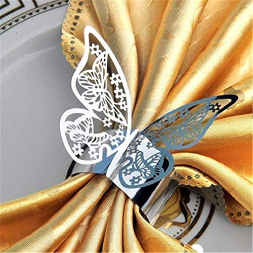 Giles Abbot Wholesale 50pcs New Year Hollow Paper Butterfly Napkin Rings Weddings Party Serviette Table Decoration Favor for Christmas Reflective Silver ()