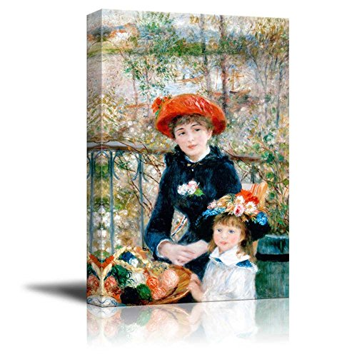 (wall26 - Two Sisters (On The Terrace) by Pierre-Auguste Renoir - Canvas Print Wall Art Famous Painting Reproduction - 24