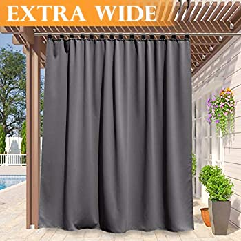 RYB HOME Outdoor Curtains 100 inches - Thermal Insulated Drape for Farmhouse Cabin Screen Porch, Waterproof Panel for Exterior Lanai Patio Outside Dining Area, 100 Wide x 95 Long, Grey