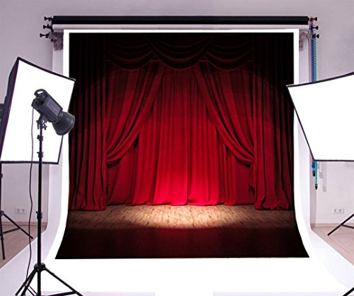 8x8ft Laeacco Vinyl Photography Background Red Curtain Stage Lighting Scene Theme Backdrop for Festival Event Party Photo Studio Props from Laeacco