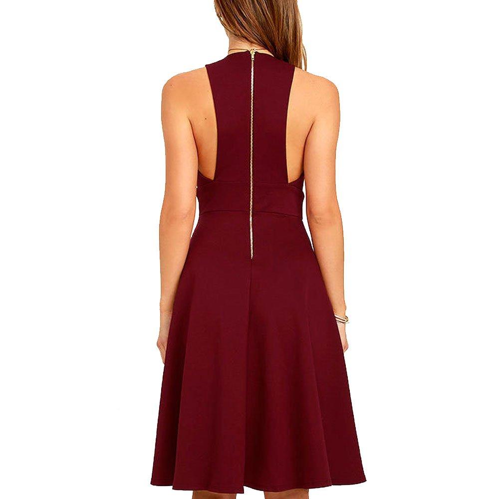 Summer Women's A-Line Sleeveless Deep V-Neck MIDI Dress (M, Burgandy) by YOOHOG (Image #2)