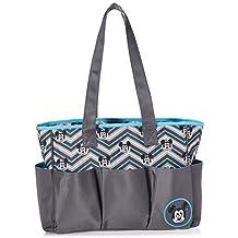 Disney Mickey Mouse Triple Pocket Multi Piece Diaper Bag Set, Chevron Print, Grey/Blue