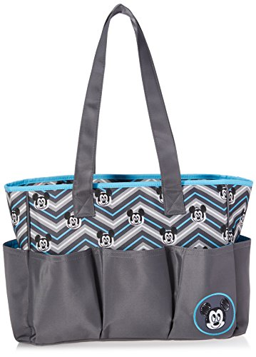 Disney Mickey Mouse Triple Pocket Multi Piece Diaper Bag Set, Chevron Print, Grey/Blue