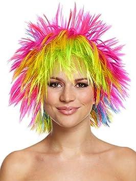 Arco iris Punk Raver con pinchos adulto disfraz peluca