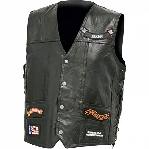 BNFUSA GFV14LEDXL Italian Stone Design Genuine Buffalo Leather LED Vest - XL ()