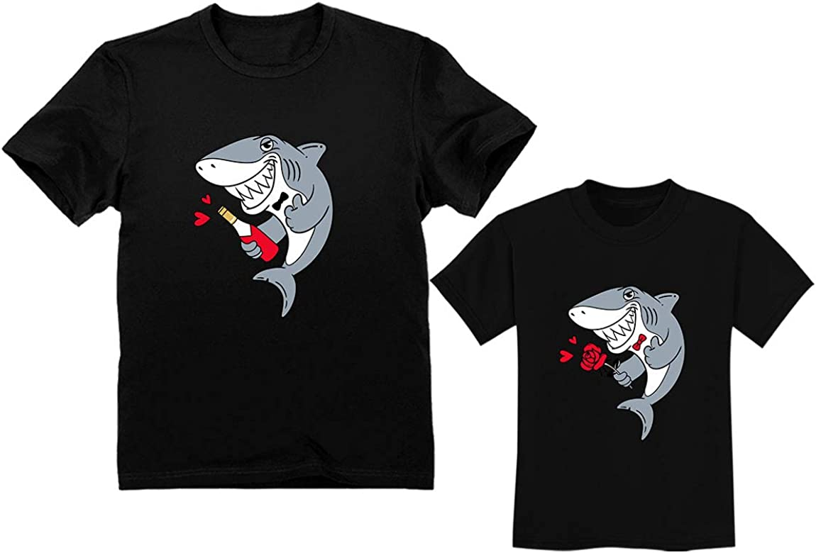 Father and Son Matching Outfit for Valentine's - Daddy Shark Baby Shark Doo Doo