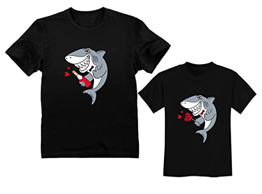 616720c0a5581 Father and Son Matching Outfit for Valentine's - Daddy Shark Baby Shark Doo  Doo Father Black