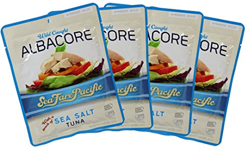 (Sea Salt Albacore Tuna - Sea Fare Pacific, 4 Pack, wild caught sustainable, 100% traceable to USA family owned fishing boats, pole & line, once cooked in it's own natural fish oil excellent Omega3's.)
