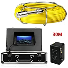 MOUNTAINONE Pipe Sewer Inspection Camera Waterproof IP68 30m Drain Industrial Endoscope Video Inspection System 7 Inch LCD Monitor 1000TVL Sony CCD DVR Recorder Video Snake Camera(4GB TF Card Include)