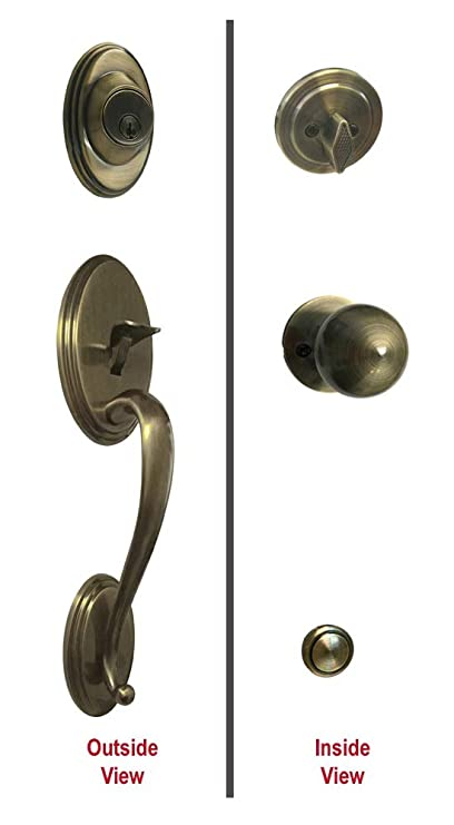 Antique Brass Lock Door Round Knob Handle Entryprivacypassage