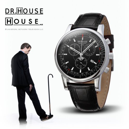 House M.D. 7165 Men's Analog Quartz Watch with Chronograph, Black Dial, Black Strap, Watch Central