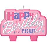 Amscan ''Happy Birthday Candle, Colorful Pink, 2'' x 4''