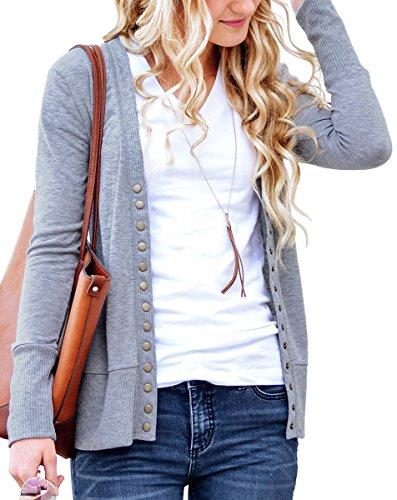 Cardigan Grey Cotton - NENONA Women's V-Neck Button Down Knitwear Long Sleeve Soft Basic Knit Cardigan Sweater(Grey-L)