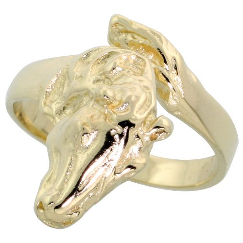 14k Gold Horse Head Ring, 3/4
