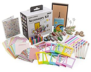 Accessories Kit for Fujifilm Instax Film Mini 8 or 9 Cameras | Fun & Colorful Photo Accessory Set with Scrapbook, Photo Album, Mini Stickers, Mini Film Clips & Vintage Frames | Artistic Hanging Frames