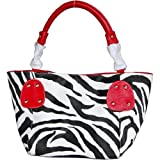 FASH Christmas Sale! Zebra Stripped Faux Leather Top Zip Tote Office Handbag,Red,One Size