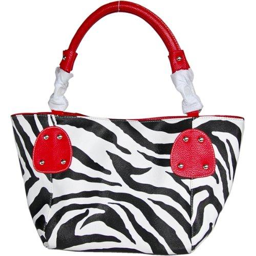 Zebra Print Hobo (FASH Christmas Sale! Zebra Stripped Faux Leather Top Zip Tote Office Handbag,Red,One)