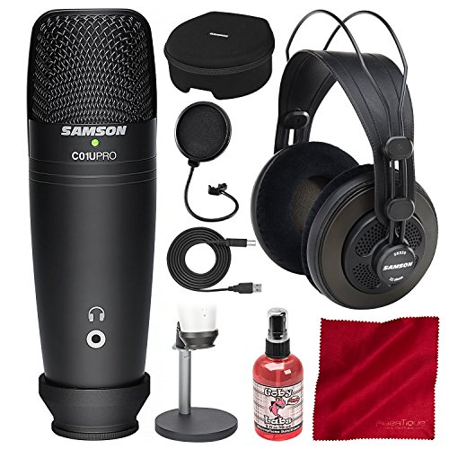 (Samson C01U Pro Podcasting Pack (Black) with Accessory Bundle)