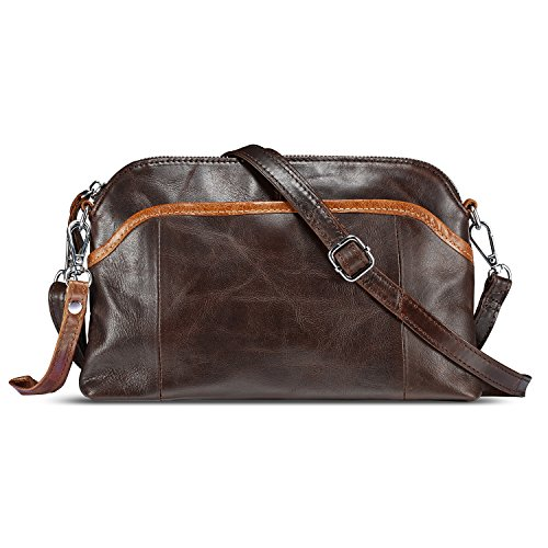 Lecxci Small Women's Soft Vintage Leather Crossbody Travel Smartphone Bag Wristlets Clutch Wallet Purse (Vintage Patchwork, Coffee)