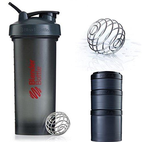 Blender Bottle Pro45 & ProStak Expansin 3Pak (Gray Red : Full Black)
