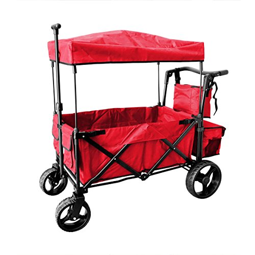 Babys Red Wagon - RED PUSH AND PULL HANDLE WITH WIDE OFF ROAD ALL TERRAIN TIRES FOLDING STROLLER WAGON OUTDOOR SPORT COLLAPSIBLE BABY TROLLEY W/CANOPY GARDEN UTILITY SHOPPING TRAVEL CARTFREE CARRYING BAG