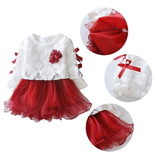 Robes Bébé Filles Weixinbuy Princesse Pétale De Fleur 2pc Partie Tenue Robe Tutu Rouge
