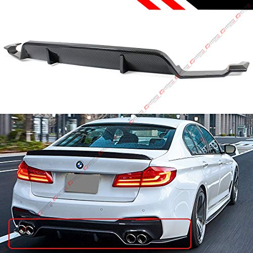 Fits for 2017-2019 BMW G30 G31 530i 540i M550i 5 Series Painted Carbon Look 3D Style Rear Bumper Diffuser Lip