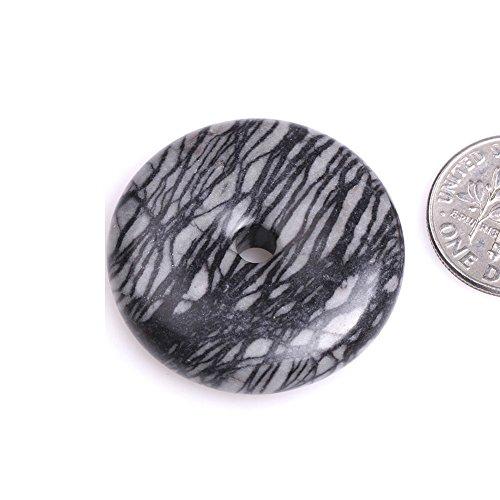 GEM-inside Natural Black Picasso Jasper Stone Donuts Beads for Jewelry Making Semi Precious Gemstone 30mm 1 Piece