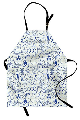 Ambesonne Children Apron, Science Chemistry Geometry Math Nerd Geek and Genius Themed Design Artwork, Unisex Kitchen Bib Apron with Adjustable Neck for Cooking Baking Gardening, Ivory - Childrens Style Apron Bib
