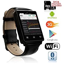 Indigi® NEW 2017 Android 5.1 OS Watch & 3G Unlocked Phone + WiFi + Bluetooth 4.0 + GPS + Google Play + 32gb bundle