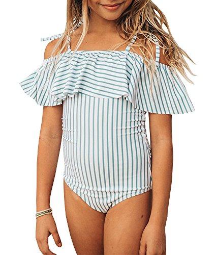 Karlywindow Girls One Piece Swimsuits Off Shoulder Strap Printed Swimwear Bathing Suit Blue