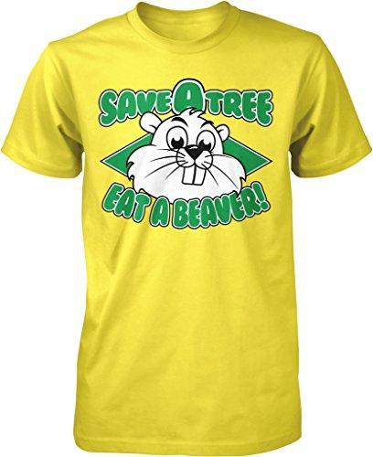 NOFO Clothing Co Save a Tree, Eat a Beaver, Beaver Prospecting Men's T-Shirt, L Yellow
