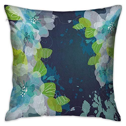(Navy Square Zippered Pillowcase Sketchy Abstract Blossoms Flowers with Leaves on Grunge Backdrop Navy Blue Pale Green and White Cushion Cases Pillowcases for Sofa Bedroom Car W17.7 x L17.7)