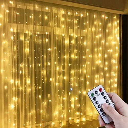 Anpro Catena Luminosa Stringa Luci – 3x3m USB Tenda Luminosa Natale con 300 Bombillas Strisce LED Luci da giardino da esterno, 8 Modos, Bianco caldo, classe di efficienza energetica