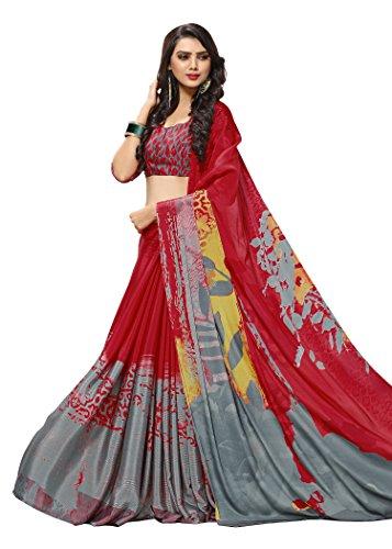 Jaanvi fashion Women's Crepe Printed Saree (Red) (Crepe Silk Saree)