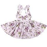 Flofallzique Girls Beach Floral princess dress with Rose Girl Kids Clothes(Purple) (7, purple)