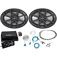 Package:(Pair)Kicker 40PS692 6x9 180W Peak/90W RMS 2-Ohm ATV/Motorcycle Spkrs+Kicker 40PXIBT502 Motorcycle+ATV 2-Channel Bluetooth Amp+Remote+8Gauge Waterproof Marine/Boat Amp Wire Installation Kit