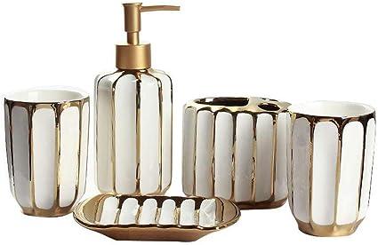Keramische Badkamer Accessoires Set 5 Delige Set Dispenser For Vloeibare Zeep Soap Box Tandenborstelhouder Mond Cup X2 Lqh Amazon Nl
