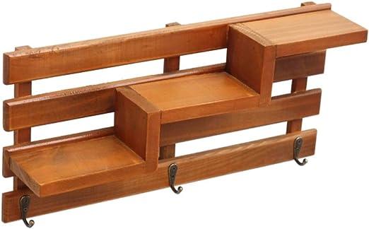 Escalera de madera con forma de pared retro con estantes y ganchos para escalera, tapiz macetero pequeño, Couleur en Bois Foncé, 40 * 8.7 * 19cm: Amazon.es: Amazon.es