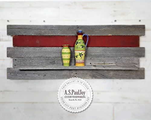 Floating Wooden Pallet Shelf made from Distressed Rustic Wood with a Natural Grey Patina
