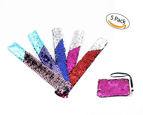Swiss Industries Under The Sea Decorations Sequin Slap Bracelet Bundle of 5 Very Colorful and Fun for Boys and Girls- With Sequin Coin Purse - Great for Birthday Parties (Multi Color) -