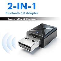 Dorrisi Adaptador USB – Receptor de transmisor Bluetooth – Adaptador de Audio inalámbrico 2 en 1 – 5.0 Lector de Manos Libres de Coche Reproductor de música MP3