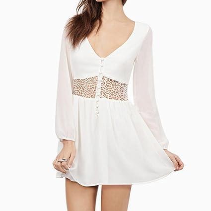 58a35ef53a5 Women s Bohemian Hollow Out Waist Lace Splicing White Short Mini Dress Long  Sleeve Lace Chiffon Cocktail