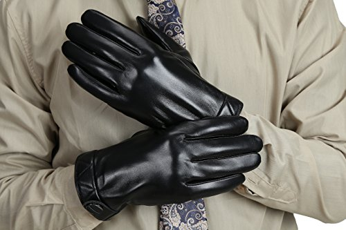 MarSue Men's Touchscreen Winter Real Leather Gloves Full-Hand by MarSue (Image #2)